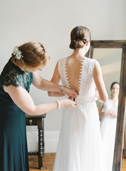 Wedding Morning Bridal Preparations | Bride in Pronovias Gown | Bridesmaid in Forest Green Dress | Fairytale Castle Wedding at Chateau de Lisse in France | Lilli Kad Photography