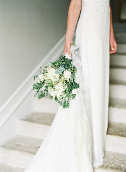 White & Green Bridal Bouquet | Fairytale Castle Wedding at Chateau de Lisse in France | Lilli Kad Photography