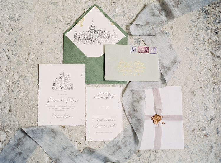 Elegant Wedding Stationery Suite | Fairytale Castle Wedding at Chateau de Lisse in France | Lilli Kad Photography