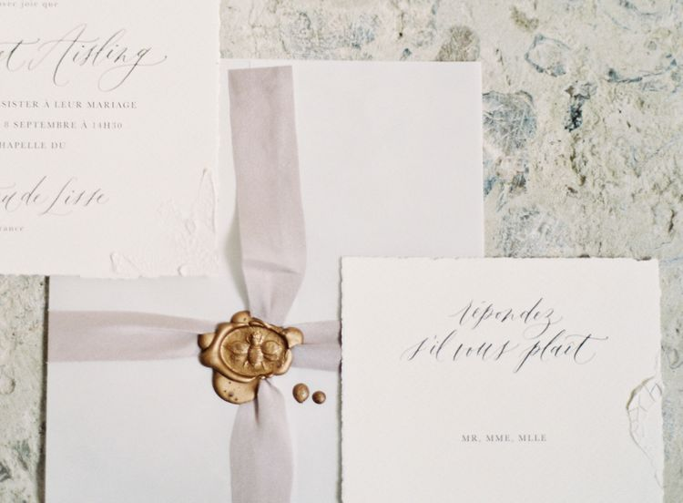 Wax Seal on Wedding Stationery | Fairytale Castle Wedding at Chateau de Lisse in France | Lilli Kad Photography