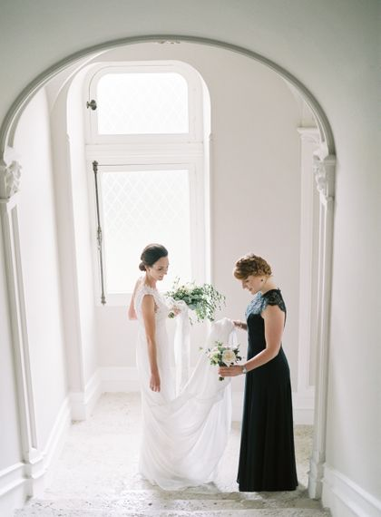 Bride in Pronovias Gown | Bridesmaid in Forest Green Gown | Fairytale Castle Wedding at Chateau de Lisse in France | Lilli Kad Photography