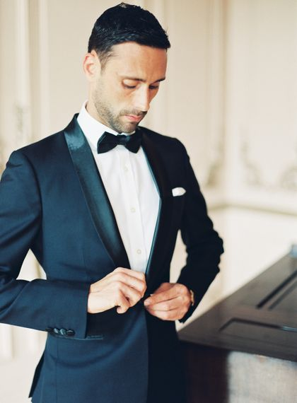Groom in Black Tie Wedding Suit | Fairytale Castle Wedding at Chateau de Lisse in France | Lilli Kad Photography