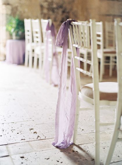 Lilac Aisle Chair Back Ribbon | Fairytale Castle Wedding at Chateau de Lisse in France | Lilli Kad Photography