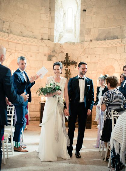 Wedding Ceremony | Bride in Pronovias Gown | Groom in Black Tie | Fairytale Castle Wedding at Chateau de Lisse in France | Lilli Kad Photography