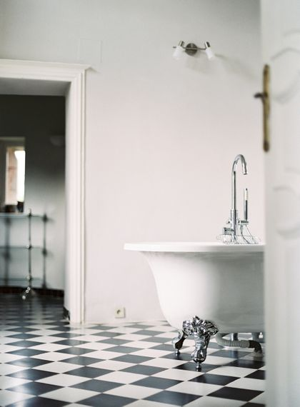 Roll Top Bath | Black & White Tiled Floor | Bathroom Interior | Fairytale Castle Wedding at Chateau de Lisse in France | Lilli Kad Photography