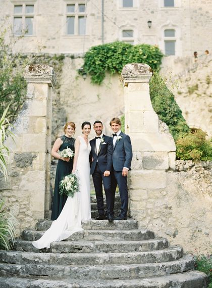 Wedding Party | Bride in Pronovias Gown | Bridesmaid in Forest Green Dress | Groom in Black Tie | Fairytale Castle Wedding at Chateau de Lisse in France | Lilli Kad Photography