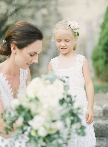 Bride in Pronovias Gown | Flower Girl | Fairytale Castle Wedding at Chateau de Lisse in France | Lilli Kad Photography