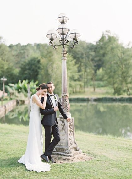 Bride in Pronovias Gown | Groom in Black Tie | Fairytale Castle Wedding at Chateau de Lisse in France | Lilli Kad Photography