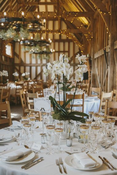 Orchid Centrepiece in The Great Barn Surrey