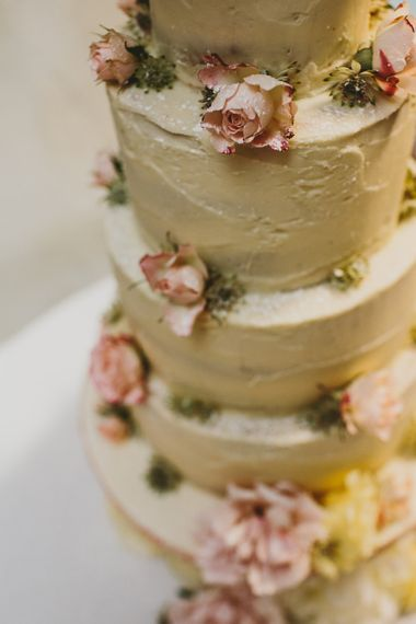 Frosted Wedding Cake Decorated with Pink & White Peonies