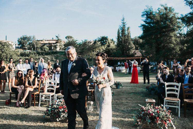Bride Arriving At Wedding Ceremony