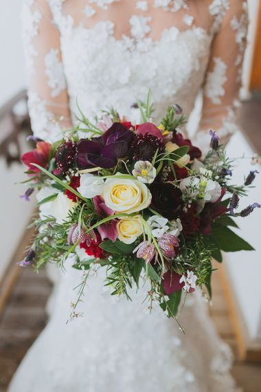 Deep Red & White Bridal Bouquet