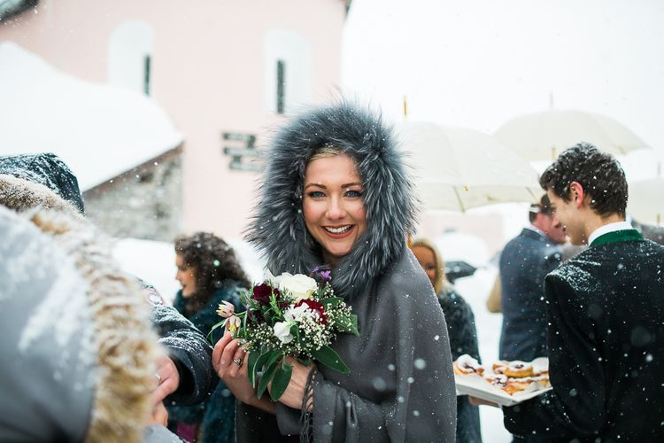 Bride in Fur Hooded Cloak