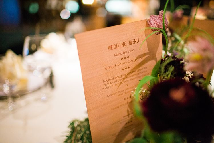Engraved Wooden Wedding Menu