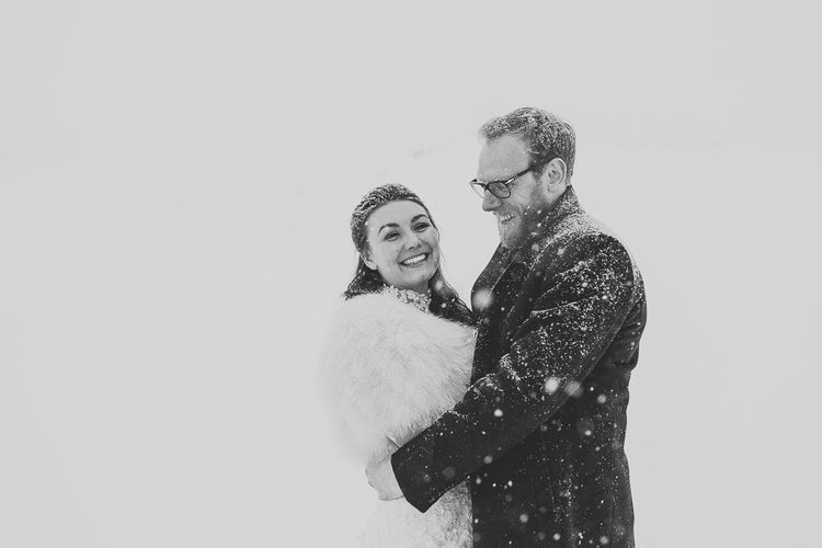 Romantic Bride & Groom Portrait in the Snow