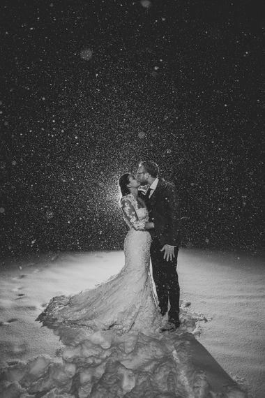 Romantic Bride & Groom in the Snow
