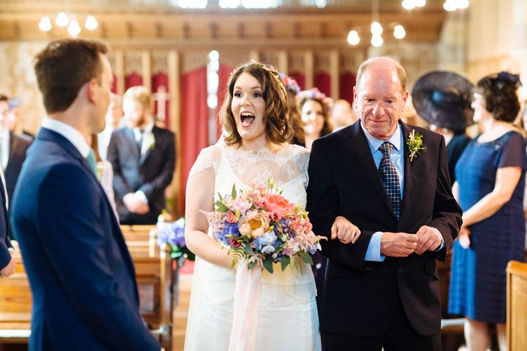 Church Wedding Ceremony   Bride in Belle and Bunny Bridal Separates   Laura Debourde Photography