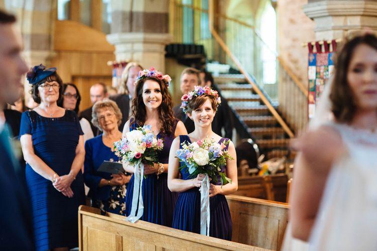Church Wedding Ceremony   Bridesmaids in Navy ASOS Dress & Flower Crowns   Laura Debourde Photography