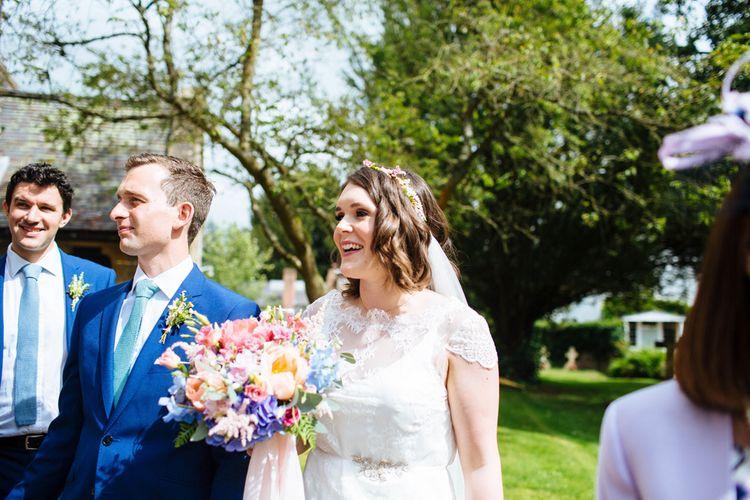 Bride in Belle and Bunny Bridal Separates   Groom in John Lewis Kin Navy Blue Suit   Laura Debourde Photography
