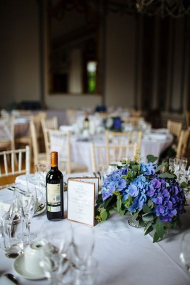 Wedding Stationery by Made by Wood and Wood   Floral Hydrangea Centrepiece   Laura Debourde Photography