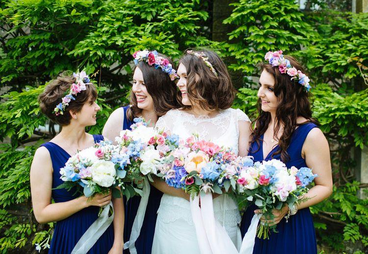 Bride & Bridesmaids in Navy Blue ASOS Dress & Bright Flowers   Laura Debourde Photography