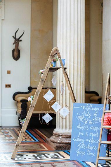 Step Ladder Table Plan   Wedding Decor   Whitbourne Hall Wedding Venue   Laura Debourde Photography