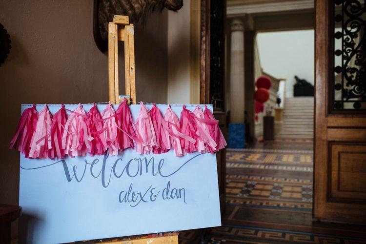 Tissue Tassel Welcome Wedding Sign   Wedding Decor   Whitbourne Hall Wedding Venue   Laura Debourde Photography