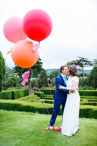 Giant Balloons   Bride in Belle and Bunny Bridal Separates   Groom in John Lewis Kin Navy Blue Suit   Whitbourne Hall Wedding   Laura Debourde Photography