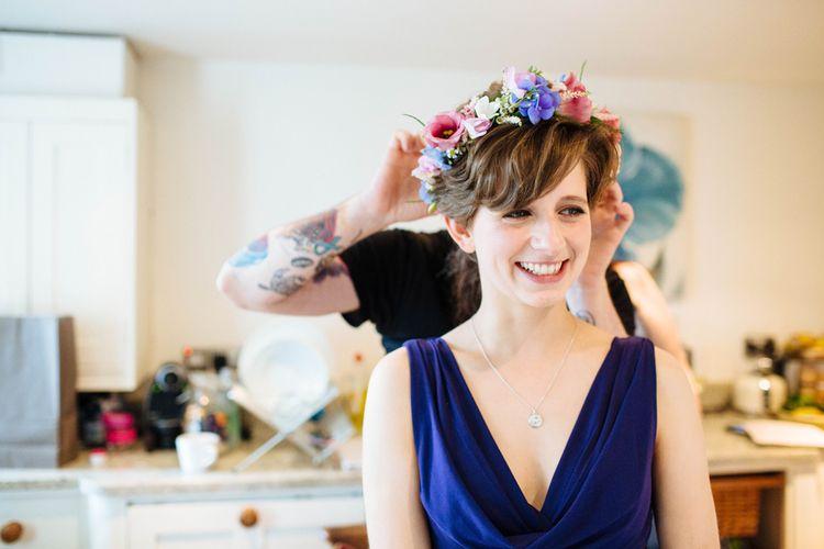 Bridesmaid in Navy ASOS Dress & Brightly Coloured Flower Crown   Laura Debourde Photography