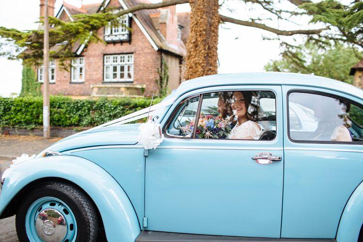 Blue Volkswagen Beetle Wedding Car   Laura Debourde Photography