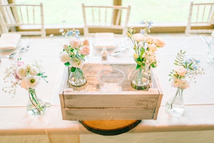Rustic Crate Top Table Arrangements
