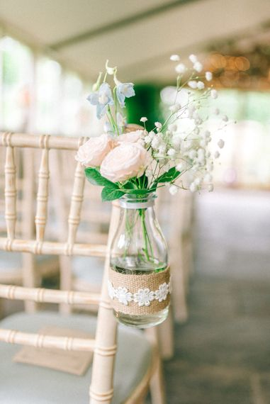 Milk Bottle wrapped in Hessian & Lace Chair Back Decor