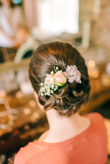Bridesmaid Hair Up Do with Flowers