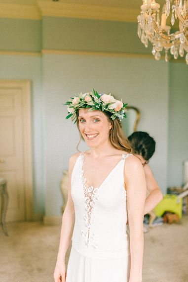 Bride in Rembo Styling Wedding Dress & Flower Crown