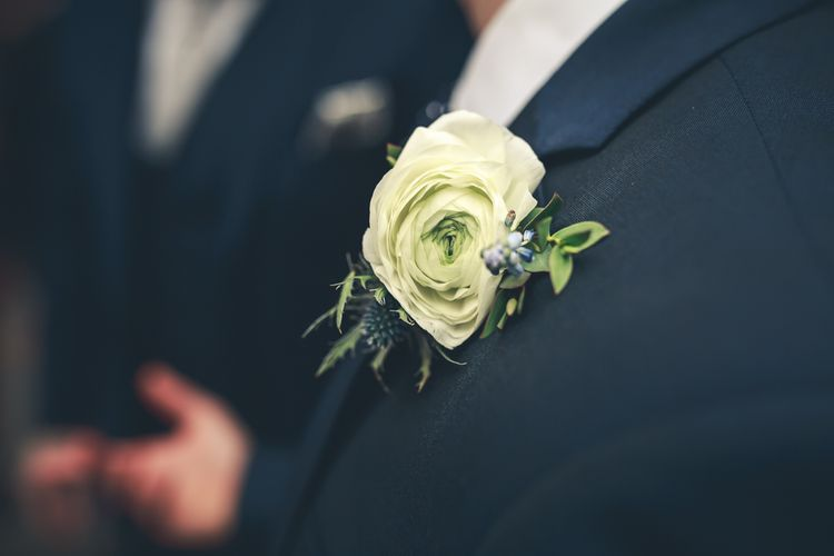 White Buttonhole For Groom & Groomsmen