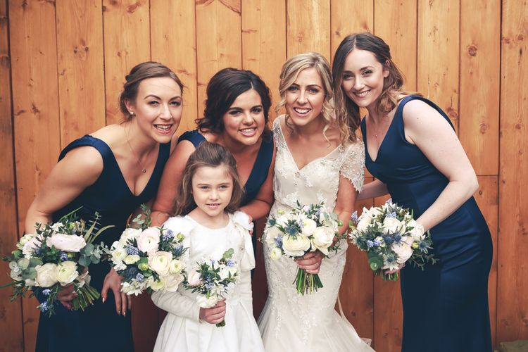 Tower Hill Barns Wedding With A True Bride Dress And Bridesmaids In Navy