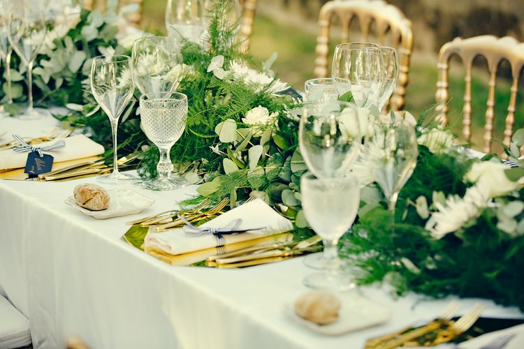Elegant Table Scape with Greenery Table Runner