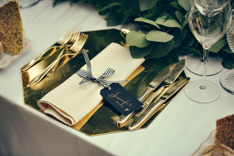 Elegant Place Setting with Gold Platter & Mono Stripped Ribbon