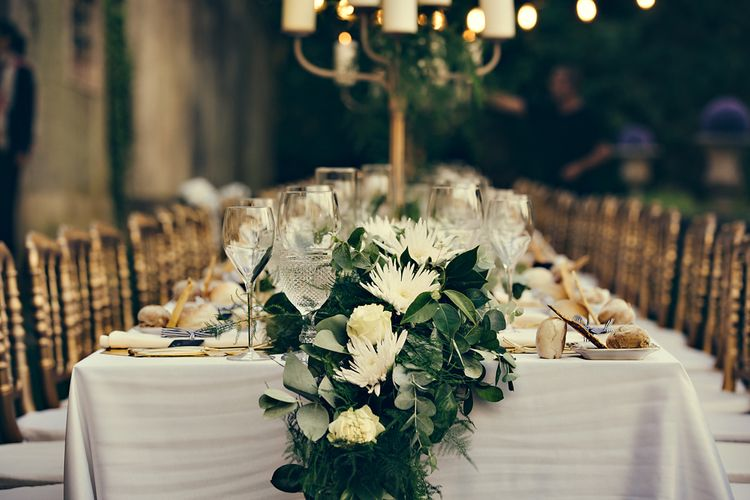 Elegant Table Scape with Greenery Table Runner & Gold Candelabras