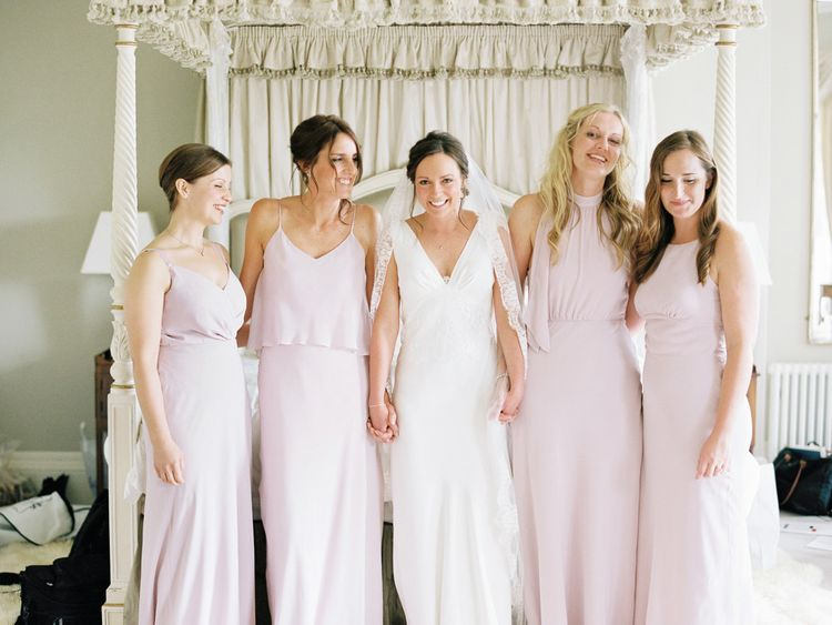 Bridesmaids in Blush Pink Maids To Measure Gowns | Bride in Rose & Delilah Gown | David Jenkins Photography | Confetti & Silk Films