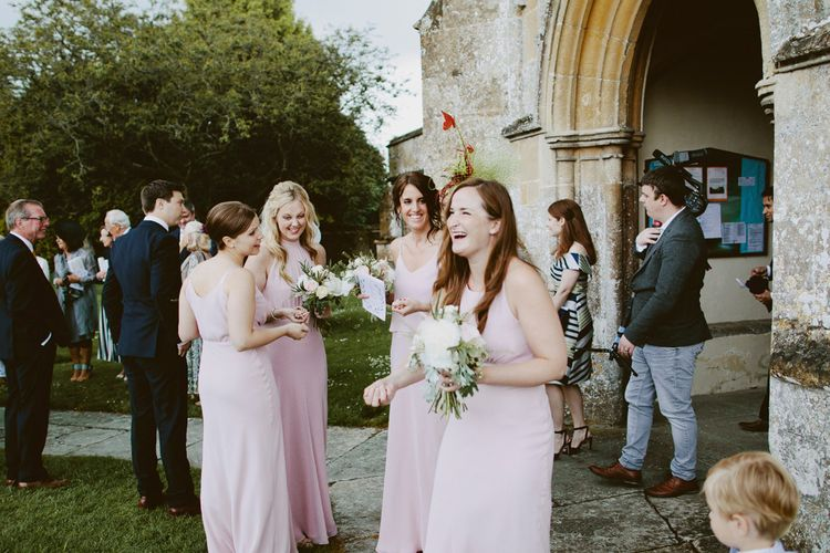 Bridesmaids in Blush Pink Maids To Measure Gowns | David Jenkins Photography | Confetti & Silk Films