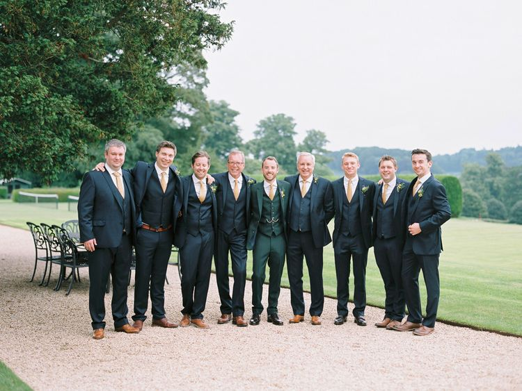 Groomsmen in Donegal Green Wool Three Piece Suits from Beggars Run | David Jenkins Photography | Confetti & Silk Films