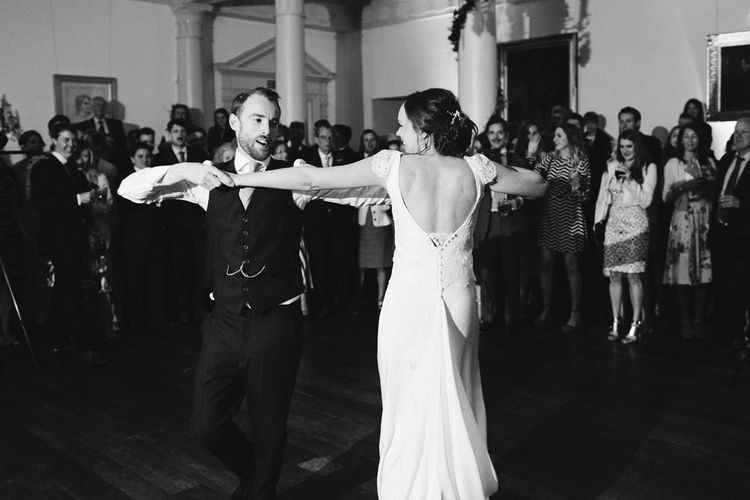 First Dance | Bride in Rose & Delilah Gown | Groom in Donegal Green Wool Three Piece Suit from Beggars Run | David Jenkins Photography | Confetti & Silk Films