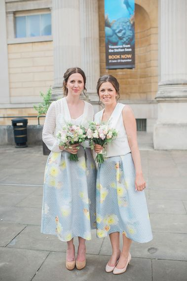 Bridesmaids in Floral Skirts & White Blouse Separates | Razia N Jukes Photography