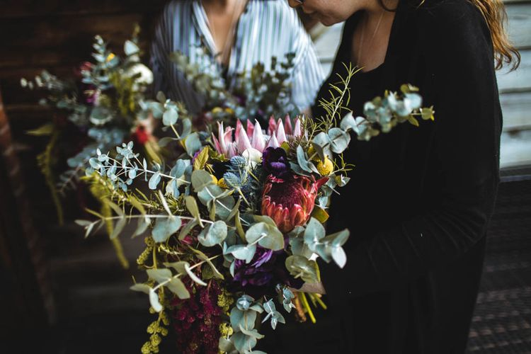 Protea Wedding Bouquet // Pub Wedding At The White Horse Chichester With Bride In Limor Rosen And Groom In Ted Baker With Images From Victoria Popova Photography