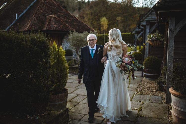 Bride In Limor Rosen // Pub Wedding At The White Horse Chichester With Bride In Limor Rosen And Groom In Ted Baker With Images From Victoria Popova Photography