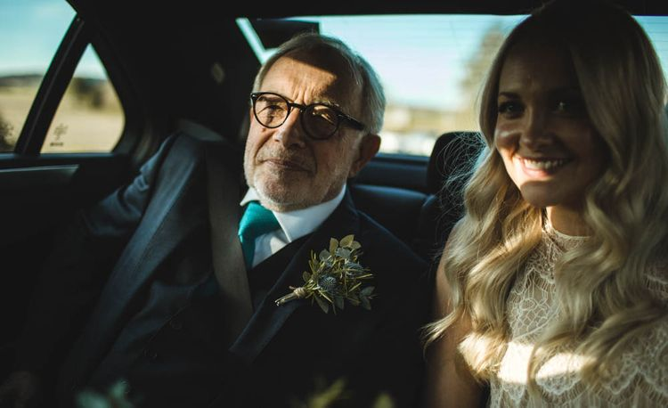 Bride & Father Of The Bride On Way To Church // Pub Wedding At The White Horse Chichester With Bride In Limor Rosen And Groom In Ted Baker With Images From Victoria Popova Photography