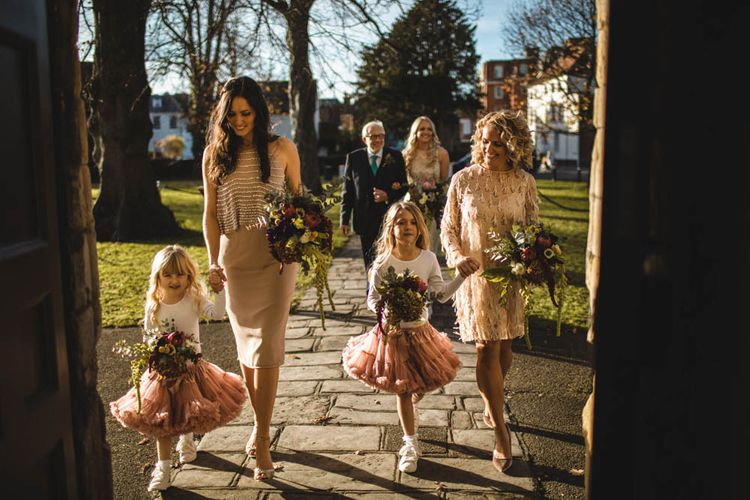 Wedding Party In Tonal Shades Of Pink // Pub Wedding At The White Horse Chichester With Bride In Limor Rosen And Groom In Ted Baker With Images From Victoria Popova Photography