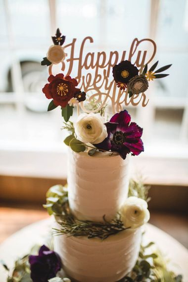 White Buttercream Wedding Cake With Fresh Flowers // Pub Wedding At The White Horse Chichester With Bride In Limor Rosen And Groom In Ted Baker With Images From Victoria Popova Photography