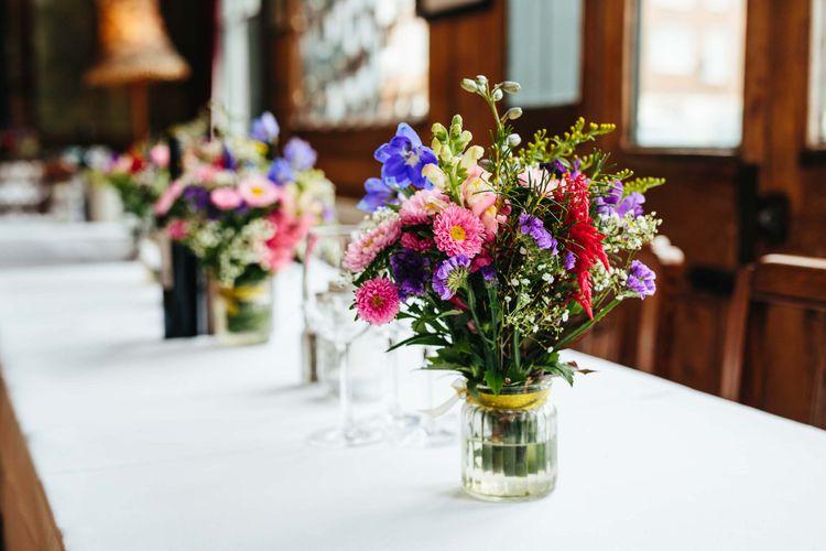 Bright Flowers in Jars